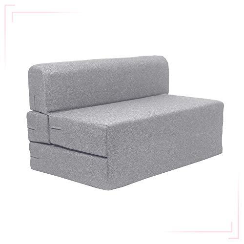 Coirfit Jute Fabric Washable Cover Folding Sofa Cum Bed (Grey, 4′ X 6′ Feet)