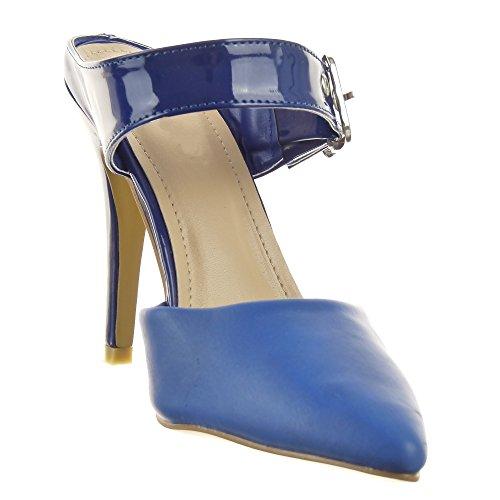 Sopily - Zapatillas de Moda Tacón escarpín Stiletto Abierto Tobillo mujer Sexy tanga Talón Tacón de aguja alto 11 CM - Azul