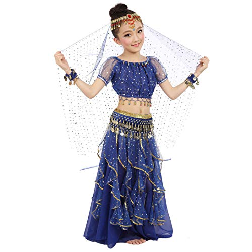 Maylong Girls Arabian Princess Dress up Belly Dance Outfit Halloween Costume (Small, Royal Blue) -