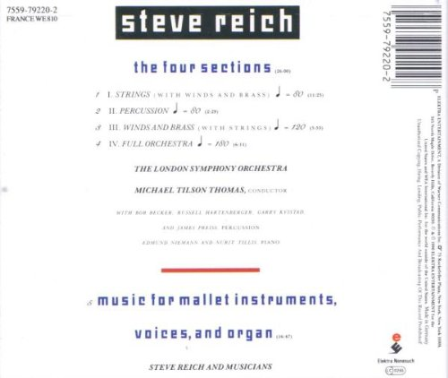 Steve Reich: The Four Sections / Music for Mallet Instruments, Voices & Organ by Nonesuch