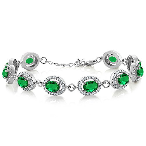 Gem Stone King 8.88 Ct Oval Green Simulated Emerald 925 Sterling Silver 7.5inches Bracelet