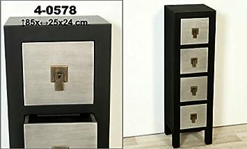 DonRegaloWeb - Mueble cajonera de Madera con 4 cajones y herraje de Metal Decorado en Color Negro y Plata