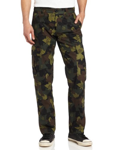 LRG Men's Core Collection Stretch Cargo Pant, Olive Camouflage, 36