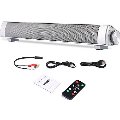 KOBWA - Barra de sonido portátil para PC, 4 altavoces de 16 pulgadas con cable de graves y altavoces estéreo inalámbricos...