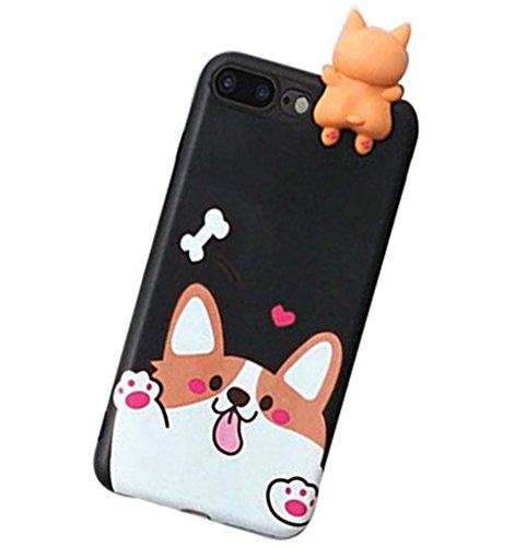Cell Phone Skin Cover - iPhone 8/7 Plus 3D Animal Cell Phone TPU Case Cute Welsh Corgi Peeking on Top Slim Flexible Crystal Silicone Protective TPU Gel Skin Case Cover for iPhone 8/7 Plus(iPhone 8 Plus/7 Plus, Corgi Black)