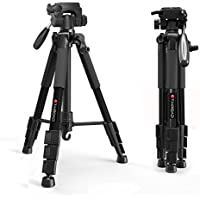 Tairoad Tripod 55 Aluminum Lightweight Sturdy Tripod for DSLR EOS Canon Nikon Sony Samsung Max Capacity 11lbs (Black)