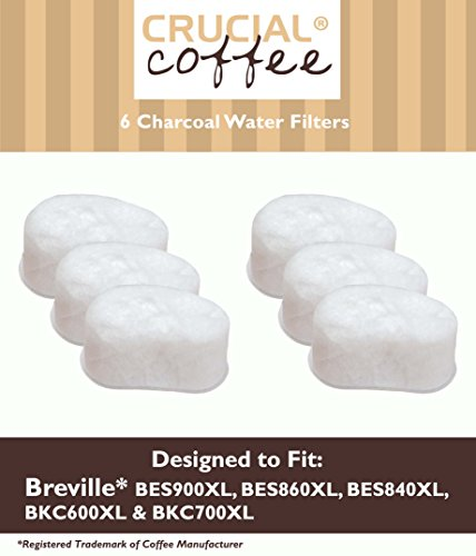 Think Crucial Water Filter Replacement Part # BWF100 - Compatible with Breville Charcoal Single Cup Filters and Models BES860, BES900 - Ideal Parts for Delicious, Healthier Lifestyle - Home (12 Pack)