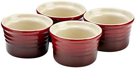 LE CREUSET Set de 4 ramequines, Redondo, Cada uno 120 ml/Ø 8 cm, Cerámica de gres, Rojo (Cereza), 4