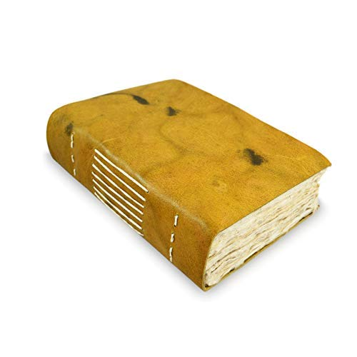Nepali Yeti Tracker Leather Journal, Writing Notebook with Handmade Lokta Paper. Made in The Himalayas of Nepal. (5x8 inch)