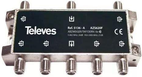 Televes 5136 - Derivador interior 60 con conector f 20db a ...