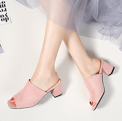 pour Aisun Daily imitation en talon moyen carré femmes Sandales à rose daim wfUx00z
