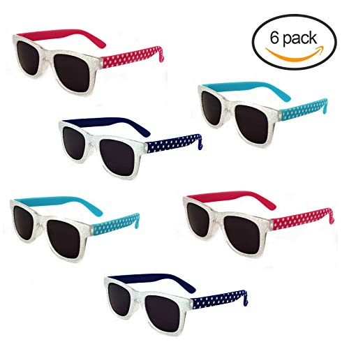 LOOSE LEAF Eyewear Kids Plastic Glittered Rectangle Frame Sunglasses with White Polkadot on Colored Rubber Temples, Pack of 6, - Glittered Leaf