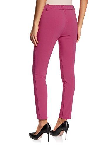 oodji Ultra Mujer Pantalones Ajustados con Cintura Elástica Rosa (4700N)