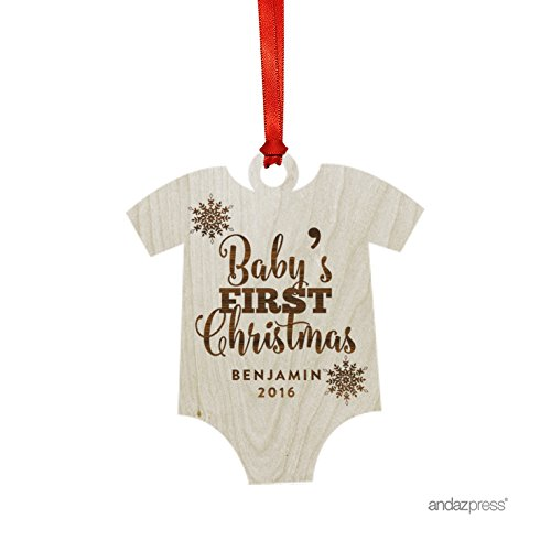 Andaz Press Personalized Laser Engraved Wood Christmas Ornament with Gift Bag, Baby