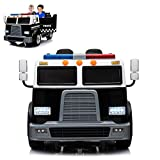 Police Truck Electric Ride On Car 2 Seats with Remote Control for Kids   12V Power Battery Kid Car to Drive with 2.4G Radio Parental Control, Openable Door, Intercom & LED Light