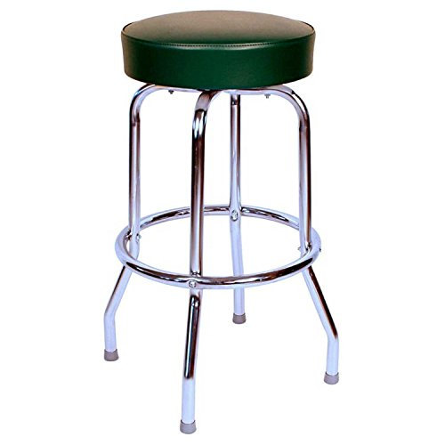 Richardson Seating 0-1950BLK24 Backless Swivel Bar Stool with Chrome Frame and Seat, Black, 24'