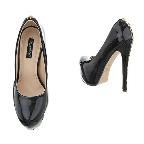 High Heel Pumps Damenschuhe High Heel Pumps Pfennig-/Stilettoabsatz High Heels Ital-Design Pumps Schwarz XK-0049