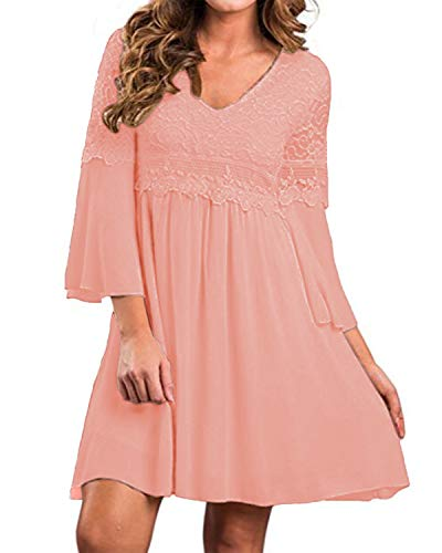 ZANZEA Women's Vintage Floral Lace V Neck 3/4 Bell Sleeve Cocktail A-line Swing Party Casual Mini Dress Light Pink M