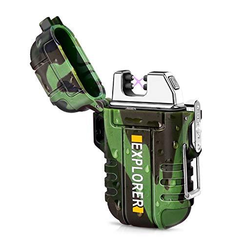 Green Vivid Waterproof Flameless Electric Lighter-Dual Arc Plasma Beam Lighter-USB Rechargeable-Windproof-No Butane-Ideal Lighter for Indoor and Outdoor Activities (Camouflage) ()