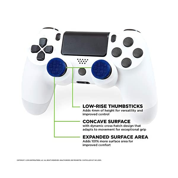 KontrolFreek Omni for PlayStation 4 (PS4) and PlayStation 5 (PS5) | Performance Thumbsticks | 2 Low-Rise Concave | Blue 2