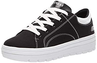 Skechers Womens 74100 Street Cleat. Canvas Contrast Stitch Lace Up Sneaker Black Size: 5