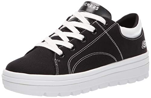 Skechers Women's Street Cleat. Canvas Contrast Stitch lace up Sneaker, Black, 8 M US ()