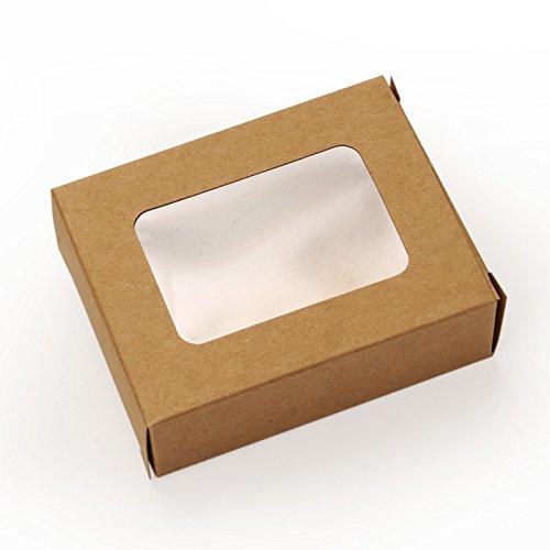 100ea - 3-1/2 X 2-3/4 X 1-1/8 Kraft Soap Box W/Window