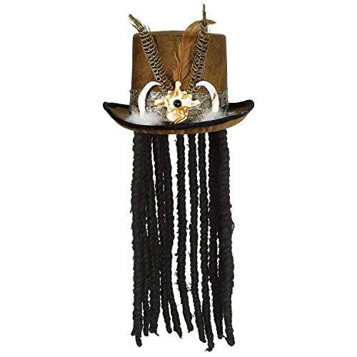 Amscan Witch Doctor Top Hat with Dreads One Size, -