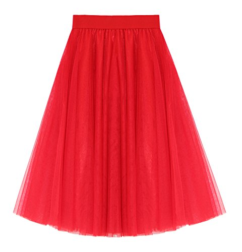 Women's A Line Knee Length Tutu Tulle Prom Party Dance Skirt (L-XL, Red)