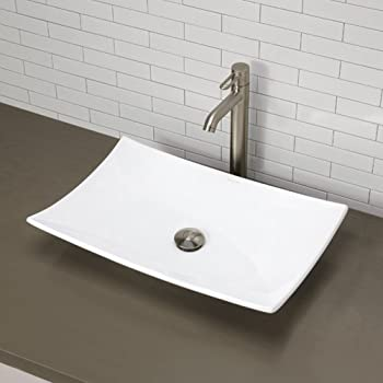 DECOLAV 1443-CWH Iris Classically Redefined Rectangular Vitreous China Above-Counter Lavatory Sink, White