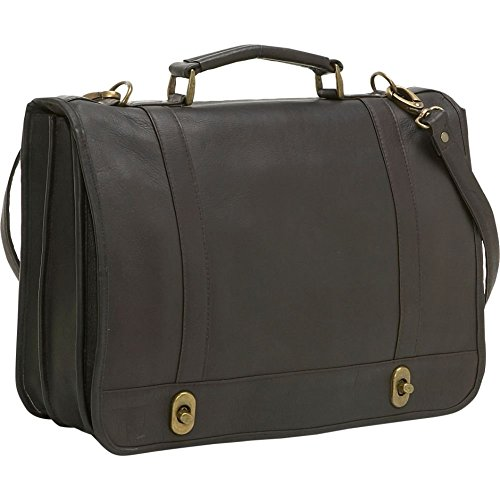Loading Leather Top (LeDonne BR-18-CAFÉ Leather Flap Over Twist Lock Brief)