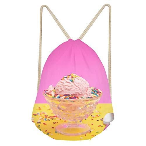 Sports Drawstring BackpackSimple Pink Ice Cream in a Crystal Sherbert Dish (Sherbert Dish)