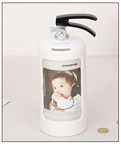 Multifunction Fire Extinguisher Piggy Bank Photo Frame Home Decoration Children Money Box And Pictures Frame Kid Toys (white)