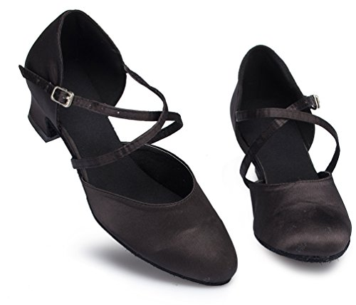 Zapatillas profesionales de baile mujer CFP L116 tacón satén para negras de bajo de YYC qExn6B