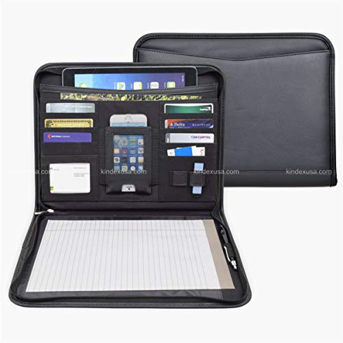 Letter Size Business Briefcase, Organizer, Portfolio, Zippered Closure, iPad Case, iPhone Holder, USB Drive Holder, Memo pad, Leatherette/Simulated Leather/Vinly