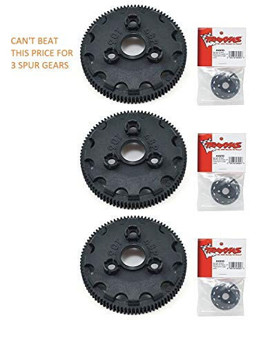 TRAXXAS SPUR GEAR 4690 SPUR GEAR 90T 48P (3pcs) THESE ARE GOOD FOR THE SLASH, RUSTLER, STAMPEDE, BANDIT, SKULLY, BIGFOOT 2WD XL-5 TRUCKS... ()