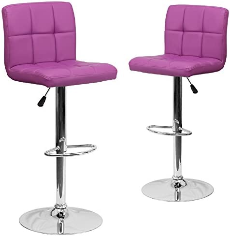 Flash Furniture 2 Pk. Contemporary Purple Quilted Vinyl Adjustable Height Barstool with Chrome Base, 2-DS-810-MOD-PUR-GG