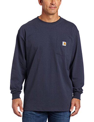 Carhartt Men's Workwear Pocket Long Sleeve T-Shirt Midweight Jersey Original Fit K126,Bluestone,XX-Large