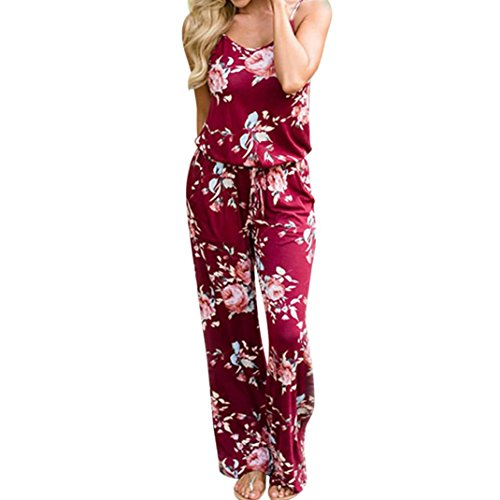 (haoricu Women Jumpsuit, Summer Women Backless Sleeveless V-Neck Floral Printed Party Jumpsuit Long Trousers (XXL, Wine))