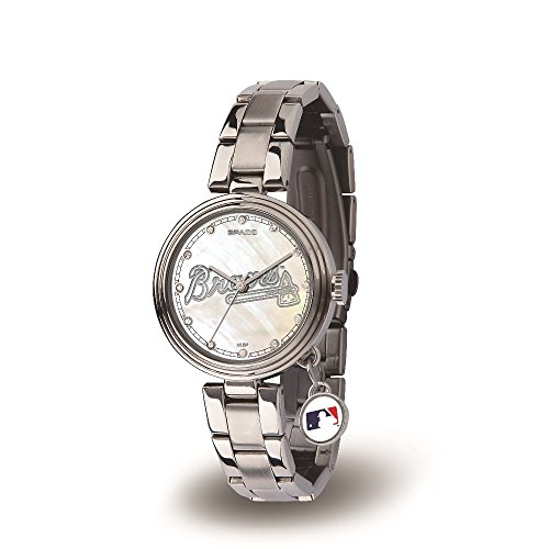 Atlanta Braves Logo Crystal - MLB Atlanta Braves Charm Watch, Silver