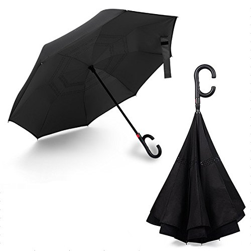 XZY 車用傘 逆転傘 逆さ傘 逆折り式傘 ワンタッチ自動開閉 両手解放のC型手元 二重生地縫製 ビジネス用 晴雨兼用 梅雨季節に大活躍! (ブラック)