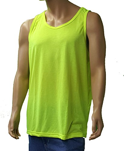 Sovereign Manufacturing Co Men's Tall 100% Polyester Tank Top 2XLT Safety Green