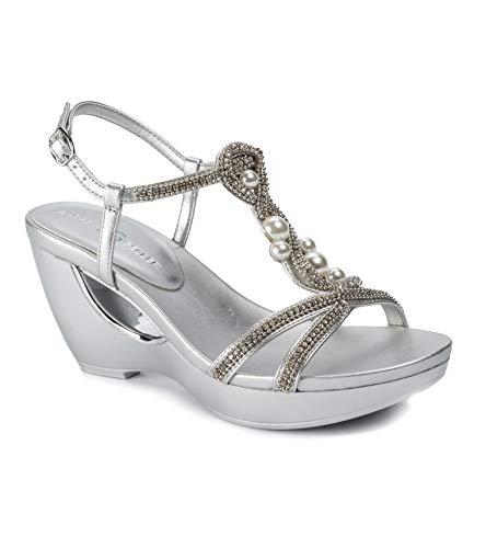 Andrew Geller Women'a, Allisandra Wedge Sandals Silver 7 M