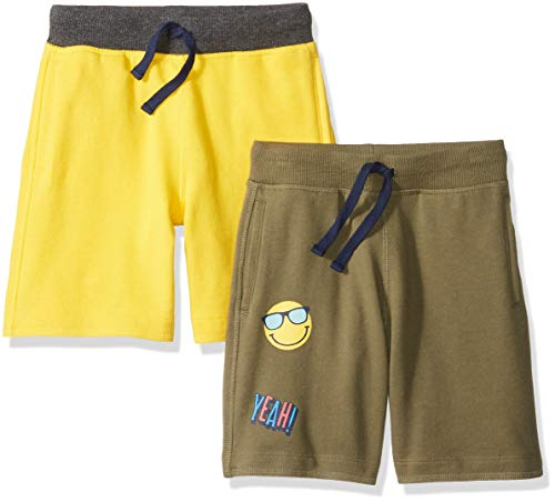 - Amazon Brand - Spotted Zebra Boys'   Kid 2-Pack French Terry Knit Shorts, Olive/Yellow, X-Large (12)