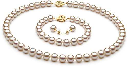 PearlsOnly White 7-8mm AAA Quality Freshwater Cultured Pearl Set-18 in Princess length by PearlsOnly