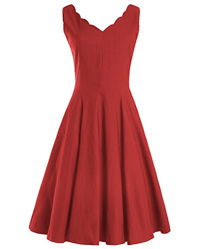 and Fit V OUGES Cocktail Neck Scalloped Dress Vintage Flare Red Womens fwqqYXxE