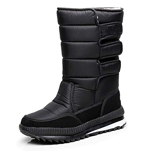 Hot Snow Boots for Men Winter Fur Warm Snow Boots Thick Plush Waterproof Slip-Resistant Male,Black,9