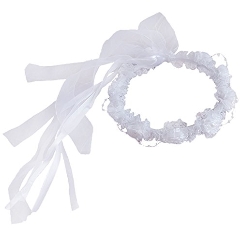 - YoumeHome Wedding Flower Girl Headpiece Floral Crown to Match Flower Girl Dress (White)