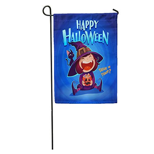 Semtomn Garden Flag Happy Halloween Little Witch Girl Kid in Costume Holds Pumpkin Home Yard House Decor Barnner Outdoor Stand 28x40 Inches Flag]()
