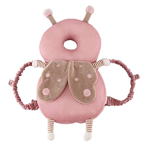 (Armfer Toys Baby Head Protector Backpack Baby Safety Pillow Breathable 3D Honeycomb Structure Soft Cushion Pillows Prevent Wrestling Teddy Bear Shape Durable Washable)